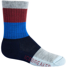 Icebreaker Hike Crew Macro Stripe Light Cushion Socks Kids port royale/lapis